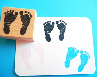 Baby Footprint Rubber Stamp //  Baby Showers, New Baby - Handmade rubber stamp by BlossomStamps