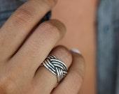 Nautical Jewelry, Nautical Ring, Nautical Braided Rope Jewelry, Silver Braided Rope, Sailboat Ring, Ring Size 4 5 6 7 8 9 10 11 12 13 14 15