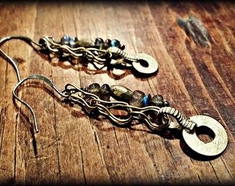 Labradorite and Kuchi Dangle Earrings