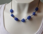 Pacific Blue Brass Necklace, Sea Glass Nugget Beads, Recycled Glass, Ocean Blue Necklace Purple Blue Gunmetal Necklace wirewrapped