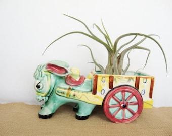 vintage pottery donkey cart planter