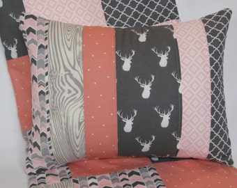 Woodland Deer Forest Quilted Pillow Cover 12x16 Inches - Rose Quartz Pink, Gray, Arrows, Tribal Design, Nursery, Cushion Cover