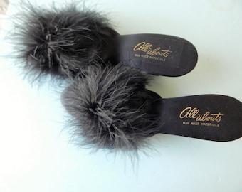 Vintage Black Satin Marabou Peep Toe Bedroom Slippers 50s