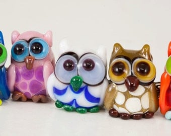 Owl Lampwork Big Hole Beads - choose one