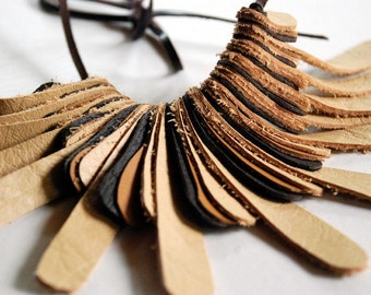 Recycled Leather Necklace Digit Large by Mainichi