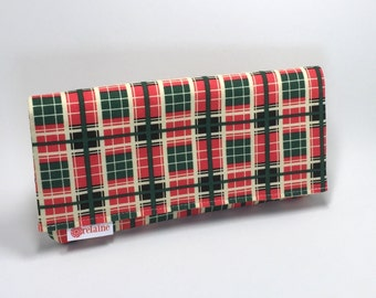 Women's wallet. Thermos plaid wallet. World's Greatest Wallet. Card wallets for women.  Red, green, and cream plaid.
