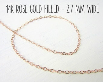 Rose Gold Chain | 14K Rose Gold Filled Cable Chain | 16, 18, 20, 24, 30, 36, Adjustable 16-18, 18-20, A La Carte Chain | Rose Gold Necklace