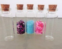 "50 TALL NEW!  Empty Glass Vials 12ml  Bottles with Cork 2 3/8""  Bead Bottles 62  x 22mm Party Favors Containers Wedding Spice Jar Trinket"