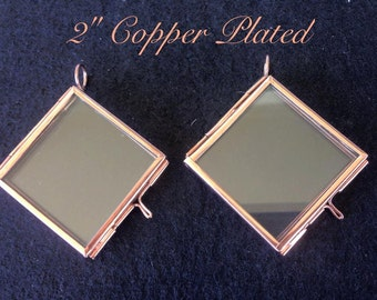 2 Pieces Glass Copper Plated Diagonal Square Keepsake Photo Hinged Locket Photo Picture Frame Pendant Memory Favors Gift