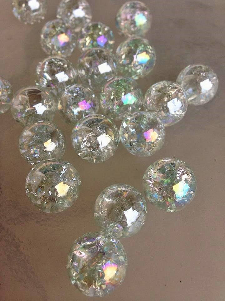 16mm Beautiful Iridescent Clear Crackled Iridized Bubbles