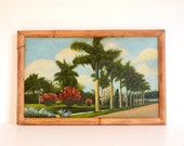 Royal Palm Trees Painting in Tiki Bamboo Frame 18 x 11