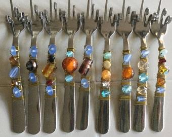 Flatware - Funky Florida Finger Forks - Blue, Brown, Turquoise, can buy singles or set