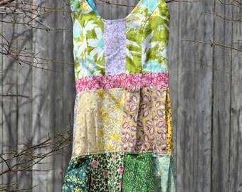 Patchwork babydoll dress