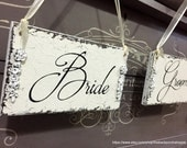 BRIDE and GROOM Signs, Wedding Chair Signs, Wedding Chair Hangers, Mr and Mrs Signs, 9 x 5