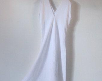 ready to wear white linen flying swallow long dress