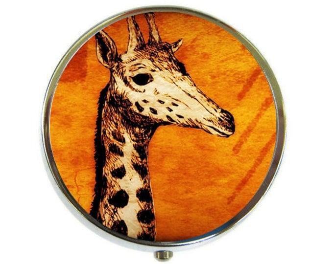 Pill Box Case Giraffe Silver Stash