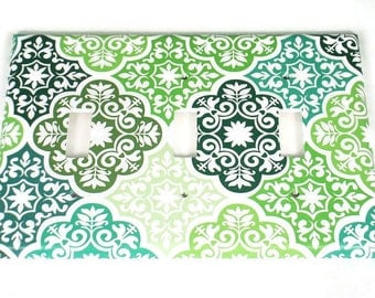 Triple Switchplates Light Switch Cover Wall Decor  Single Switch Plate in Verde (213T)