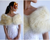 Vintage 60's Plush White Foxy Fur Shoulder Wrap Stole by Normarts Furs | One Size, XS Small Medium Large XL