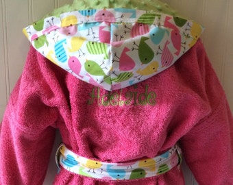 Girls-Bath-Robes-Girl-Robe-Chicks-Pink-Aqua-Lime-Nautical-Bathrobes-Childrens-Beach-Hooded-Swim-Suit-Terry-Cover Up-Baby-Toddler-Kids-Gift