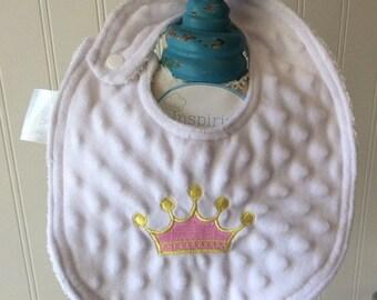 PERSONALIZED-Baby Bib-Royal-Crown-Princess-Minky-Girls-Toddler-Drool-feed-Newborn-essentials-accessories-Nurssery-Shower-Birthday-Gifts