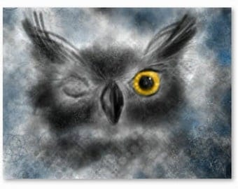 Wise Old Winking Owl -  Original drawing DOWNLOAD