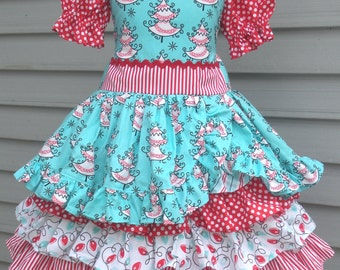 Ready to Ship Custom Boutique Red Aqua All the Trimmings Ruffle Christmas Dress Girl Size 5 / 6