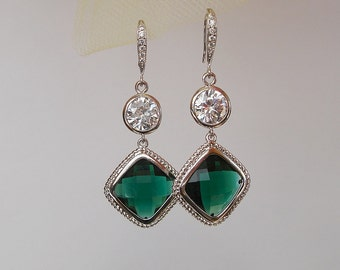 Framed Emerald Bridal Square and Clear Cubic Zirconia  Wedding Earrings.