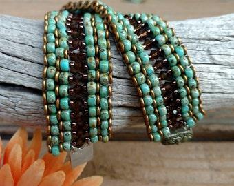 Turquoise Beadwork Cuff Bracelet.Beaded Cuff Bracelet.Smoky Topaz Cuff.Native American Inspired.Picasso Seed Bead Bracelet.SPIRIT GUIDE