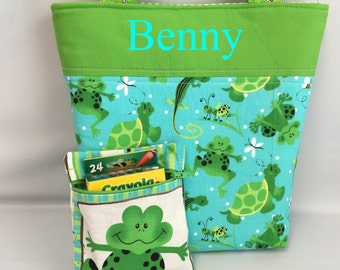 BOY's  Tote and Crayon Pouch Set ... Frogs and Turtles ... Child Size  Bag  ...  Monogrammed  FReE .. Ring Bearer