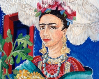 Frida in her Wheelchair with a Monkey