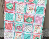 RUSH ORDER Girl Crib quilt and bumper