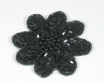 Black Sequined Flower Pin Sequin Flower Pin Black Sequin Brooch Hat Pins Scarf Pins Shawl Pins Sequin Brooches Sequin Pins Sequin Hat Pins