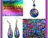 Polymer clay Tutorial- Dichroic Look Mosaic Tutorial- Pendant & Earring Tutorial- Jewelry Making Tutorial