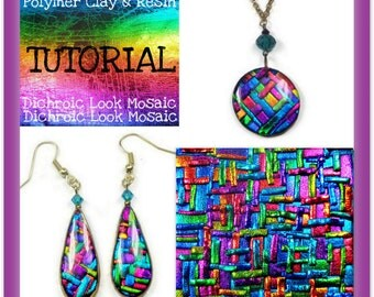 Polymer clay Tutorial- Dichroic Look Mosaic Tutorial- Pendant & Earring Tutorial- Jewelry Making Tutorial