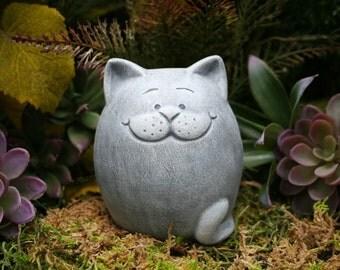 Fat Cat Statue   Abstract Zen Kitty Cat   Outdoor Garden Decor