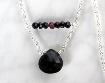 Tourmaline Necklace - Black Tourmaline Heart in Sterling Silver