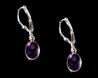 Faceted Amethyst Oval and Sterling Silver Earrings, Amethyst Earrings, Amethyst Jewelry, Silver Earrings, February Birthstone Earrings