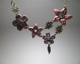 Purple Flower Bib Necklace - Everlasting Bouquet - Artisan Jewelry