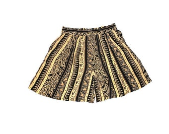 90s high waisted pleated shorts 1990s vintage paisley rayon culottes skirt skort size medium