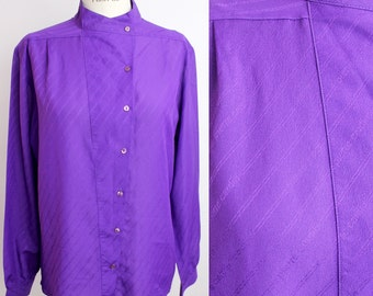 Vintage Pierre Cardin Blouse | Bright Purple Button Down Shirt | Banded Collar Top | M