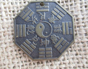 Large Vintage Look Chinese Bagua Ying Yang Coin Charm