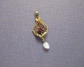 Antique Lavaliere Pendant with 2 Stones & Pearl - Delicate and Beautiful