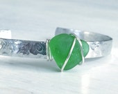 Emerald Green Genuine Beach Glass Sea Glass Silver Cuff Bracelet