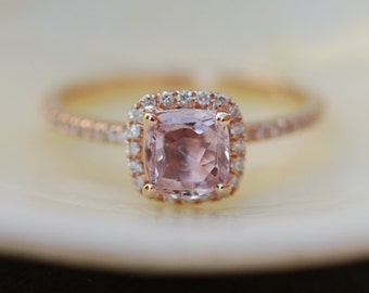 Rose Gold Engagement ring. Smokey Peach Sapphire ring. 1.05ct cushion sapphire 14k rose gold diamond ring. Engagement Rings by Eidelprecious
