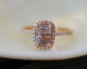 on hold -Smokey Brown Sapphire Engagement Ring 14k Rose Gold Diamond Engagement Ring 2.01ct Cushion. Engagement ring by Eidelprecious