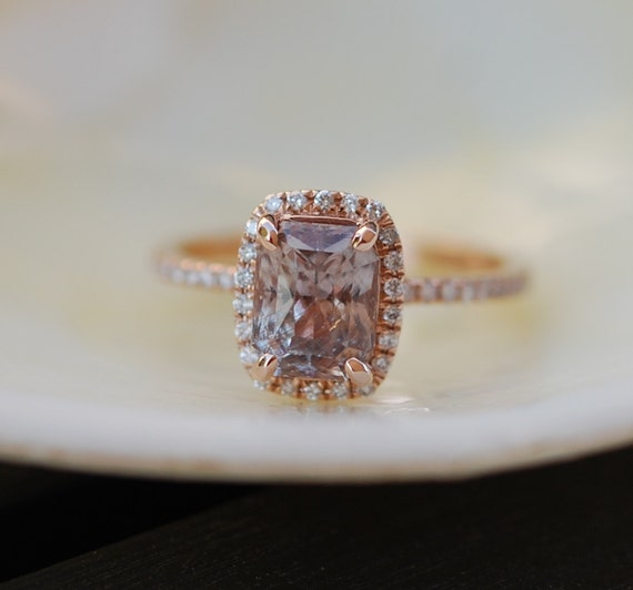 Smokey Peach Sapphire Engagement Ring 14k Rose Gold Diamond Engagement Ring 2.1ct Cushion. Engagement ring by Eidelprecious