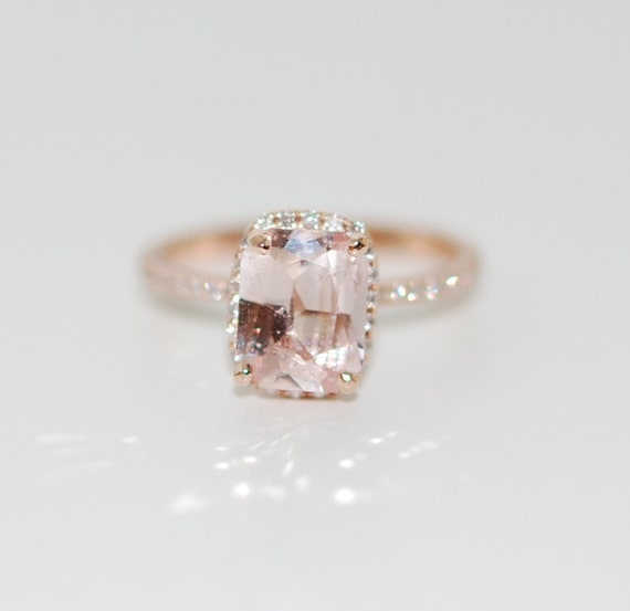 White Sapphire Engagement Ring 14k Rose Gold Diamond
