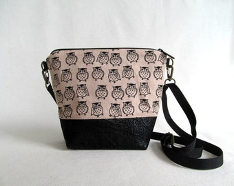 ADELE SMALL Cross Body Purse  // Day Bag // Owls // Japanese Import Fabric