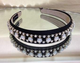 Handmade by me Vintage Style Bling covered headband Milky Stone embellished band