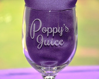 Personalized Engraved Custom Keepsake Wine Glass, Juice Cup, Birthday Gift, Father's Day Gift, Gift for Dad, Grandpa's Juice Mug